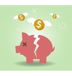 Broken Piggy Bank concept for financial crisis or vector
