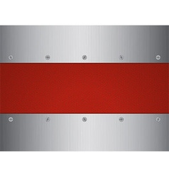 Brushed metal and leather panel with screws vector image