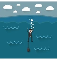 Cartoon drowning businessman vector