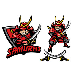 Cartoon style samurai warrior mascot vector