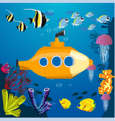 cartoon yellow submarine underwater vector image