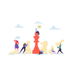 characters playing chess business planning vector image
