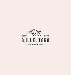 charging bull el toro logo retro vintage hipster vector image