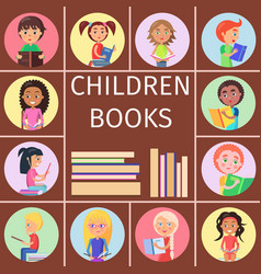 children books pile letters for reading kids vector image