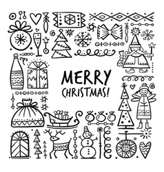 Christmas frame sketch for your design vector