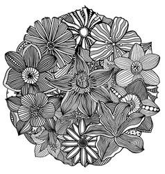 Circle Floral Ornament vector image