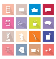 Collection of 16 Office Item Icons Banner vector image