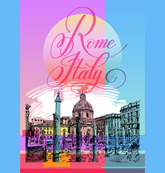 contemporary art poster design of rome italy vector image