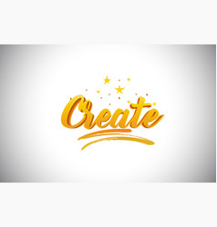 Create golden yellow word text with handwritten vector