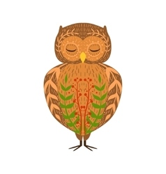 Eagle-Owl Relaxed Cartoon Wild Animal With Closed vector