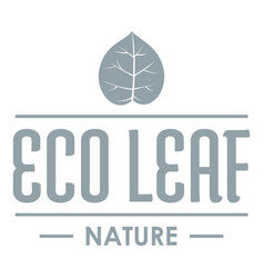 eco organic logo simple gray style vector image
