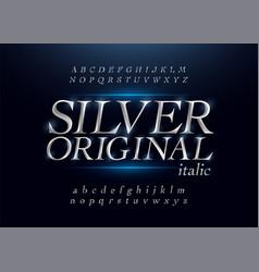 elegant silver colored metal chrome alphabet vector image