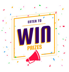 Enter to win prizes background with megaphone vector