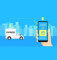 Fast delivery service app on smartphone vector