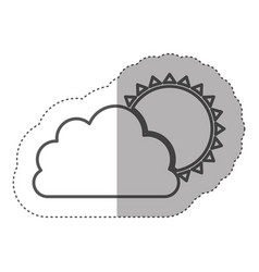 figure cloud with sun icon vector image