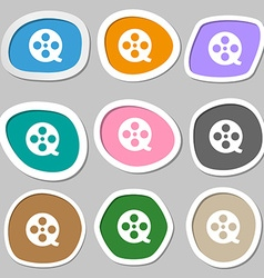 Film icon symbols Multicolored paper stickers vector image