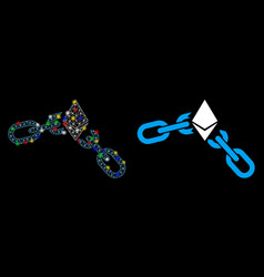 Flare mesh 2d ethereum broken chain icon with vector