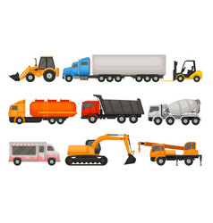 Flat set of various types of vehicles semi vector