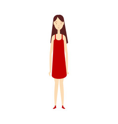 flat young girl in red dress isolated vector image