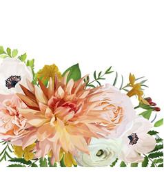 Flower square card design pink anemone garden vector