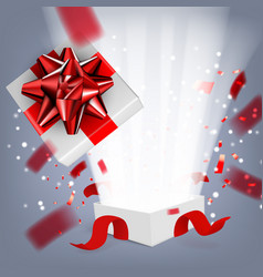 fly white open gift box with ribbon on white vector image