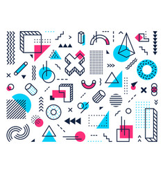 Geometric shapes abstract memphis style points vector