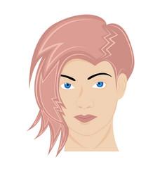 girls head cartoon with funky hair vector image