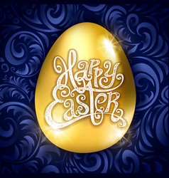 golden egg happy easter with decorative blue vector image