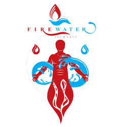 Graphic strong male fireman composed vector
