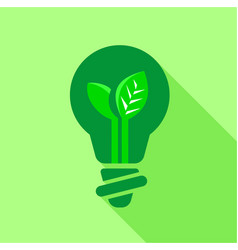 Green light bulb with leaf inside icon vector