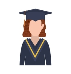 Half body woman with graduation outfit and redhair vector