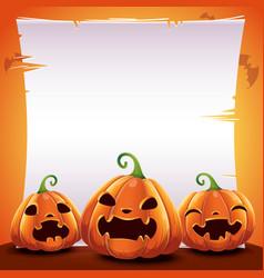 Halloween poster with realistic pumpkins on orange vector