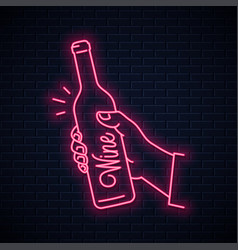hand hold wine bottle neon sign male hand holding vector image