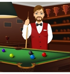 Handsome caucasian man holding cue stick vector