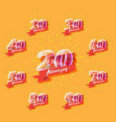 Happy anniversary glass bulb numbers set vector