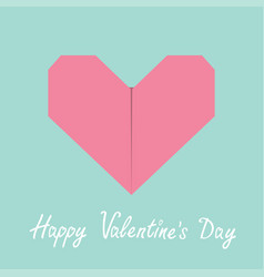 Happy valentines day sign symbol pink origami vector