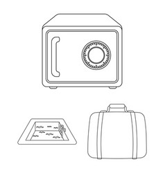 hotel and equipment outline icons in set vector image
