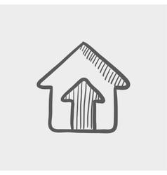 House entrance sketch icon vector