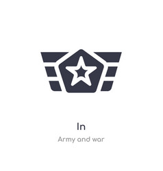 In icon isolated icon from army and war vector