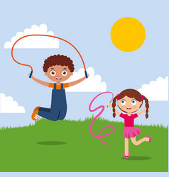 kids boy and girl playing in the park happy vector image