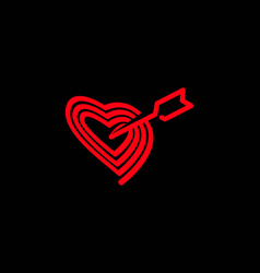 love heart line with arrow logo design vector image