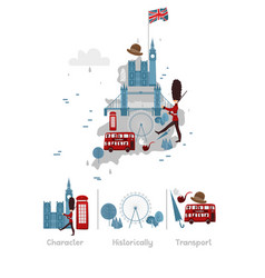 Map of england and symbols vector