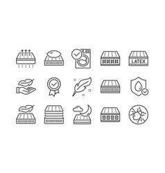 Mattress line icons set breathable memory foam vector