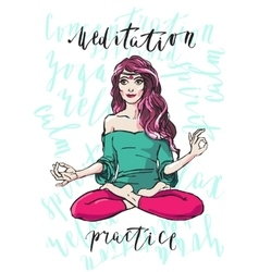 Meditating woman hand drawn vector