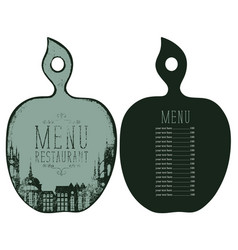 Menu in the form of cutting board with price list vector
