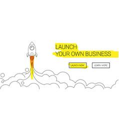 minimalistic rocket launch line icon rocket vector image