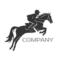 Modern horse with rider logo vector