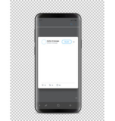 Modern smartphone template with social media post vector
