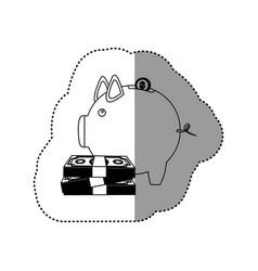 Monochrome contour sticker of money box in shape vector