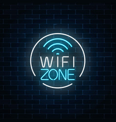 neon sign of free wifi zone in circle frame on vector image